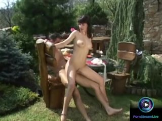Fantastic morning sex with Lea Farlon in the balcony