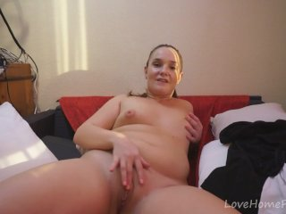 Chubby girl wants to reveal her shaved pussy