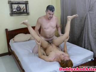 Mature daddy toying filipino ass before anal