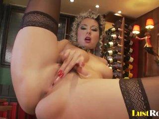 Black stockings and big natural tits Daria Glower
