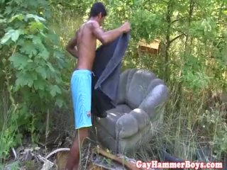Hung euro twink masturbating in forest