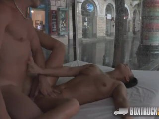 Slutty woman fucks the masseur in public after he makes her pussy wet