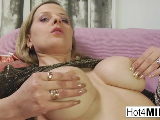 Busty blonde MILF sucks his cock and tosses his salad