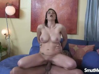 Brunette mom fucked and facial
