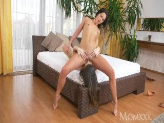 MOM Horny mature lesbian women make love face sitting with long legs