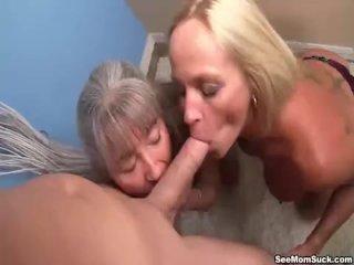 Mature ladies tag-team a dick