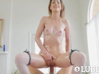 LUBED Private school girl Kristen Scott messy lubed up fuck