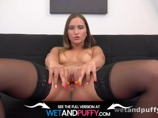 Wetandpuffy – Naomi Bennet teases her wet juicy pussy with a big dildo