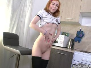 Red-haired Kira Roller tries out her first ass fuck – FirstAnalQuest!