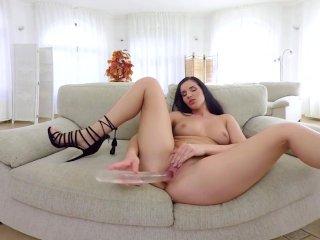 VR PORN-Sweet Lucia Denvile Take A Big Dildo In Both Holes