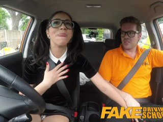 Fake Driving School – Sexy Spanish Learner sucks Big Cock for lessons