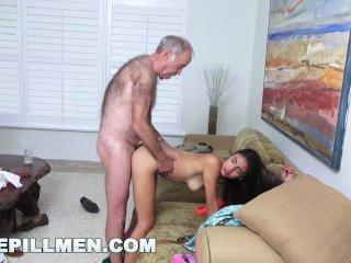 BLUE PILL MEN – Grandpa Popping Pills and Fucking Tight Latina Teen Pussy!
