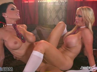 Jessica Jaymes and Nikki fuck each other, big boobs and big booty