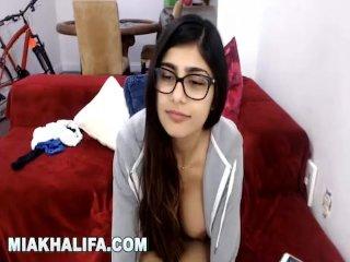 MIA KHALIFA – Gorgeous Arab Pornstar Solo Masturbation on Red Couch