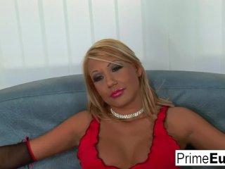 Blonde teen Alishia wants two dicks inside her