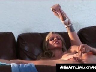 Beautiful Busty Milf Julia Ann Bangs Her Box w/ Glass Dildo!