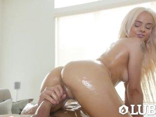 LUBED Oiled big dick fuck with petite blonde Elsa Jean