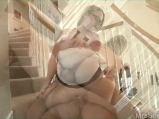 Hotwife Fucks Hubby's Friend on Stairs