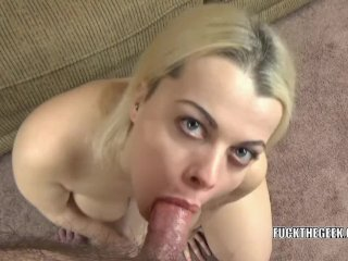 Nadia White is on her knees to swallow a cock