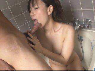 Hot milf Manami Komukai gobbles cock in the shower – More at javhd net
