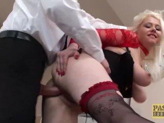 English subslut gagging on maledom cock