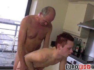 Euro twink and old guy ass fuck hard