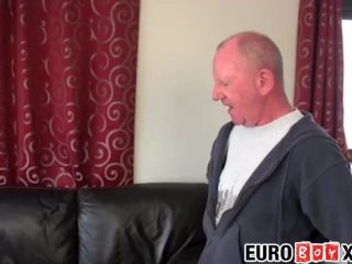 Euro twink gets drilled by two granddads