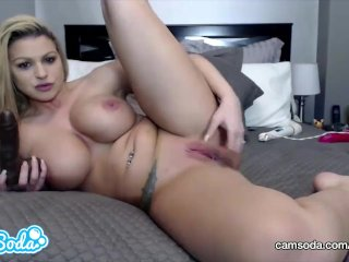 Brooklyn Chase big tits fingering and masturbating with huge black cock.