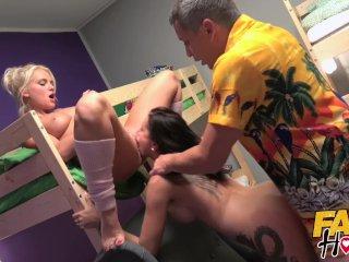 Fake Hostel – Horny blonde Italian and brunette Russian girls fucked hard