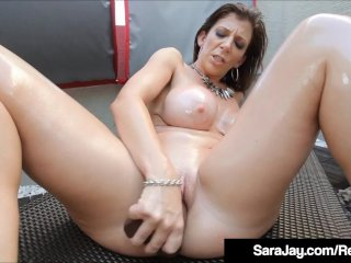 Sara Jay Spits On Big Black Dildo & Jams It In Her Wet Pussy