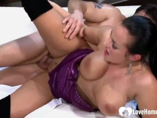 Busty woman sucked him off and got rammed
