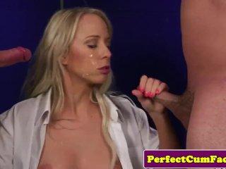 British spunk babe sucks cocks in threesome