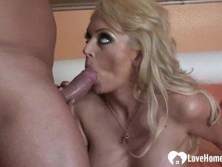 Horny blonde loves his big hard dick