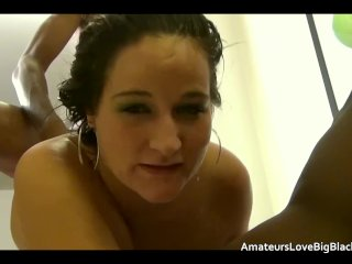 Trailer park skank takes black cocks in ass and pussy