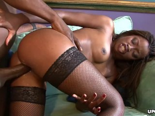 Tight ass black bitch Monique blasted with a BBC