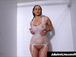 Hot MILF Showers With Her Shirt On