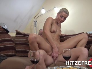 HITZEFREI Tight body German blonde Aby Action gets her ass reamed