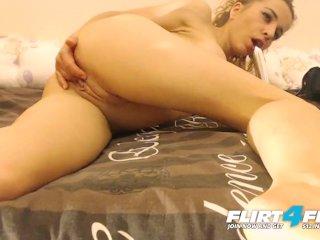Flirt4Free – Angelika Ji –  Squirting Blonde with Big Tits Dildos Herself