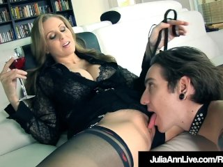 FemDom Milf Julia Ann Orders Leashed Boy Toy To Eat Her Out!