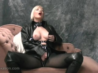 Blonde rubs big tits in leather masturbates in pantyhose femdom teases whip