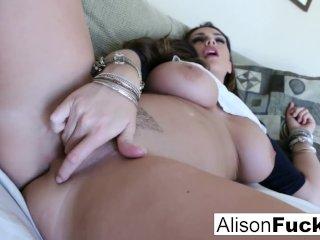 Big Tit Alison rubs her giant knockers