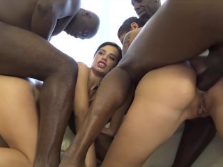 Step sisters have hardcore anal sex with four black guys in the same time