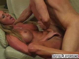 Digital Playground – Slutty blonde Samantha Saint shows off her pierced nip