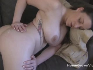 Big tit amateur babe has her throat and pussy fucked