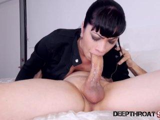 Big tit Latina Cassandra Cain deepthroating a big cock & swallowing