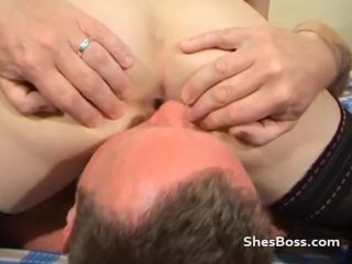 Licking away at her pussy and bumhole