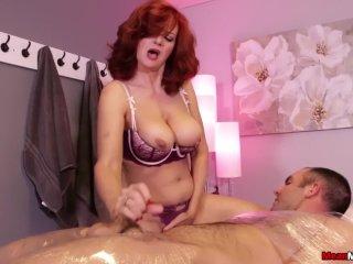 Redhead milf cock stroking