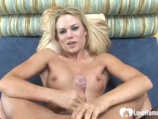 Blonde handles a hard dick in POV