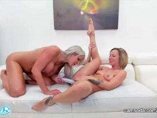 CamSoda – Jada Stevens and Nina Elle Pussy Licking and Dildo Fucking