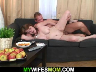 Taboo sex with his busty mother-in-law